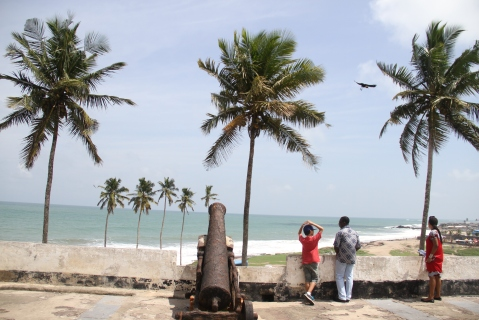 The view of the Gulf of Guinea from Elmina Castle in Elmina, Ghana.